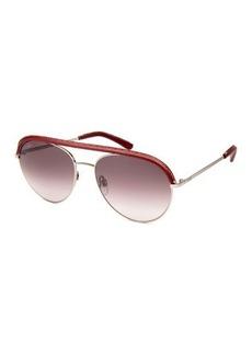 Tod's Contrast-Bridge Metal Aviator Sunglasses