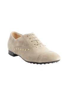 Tod's cream suede studded oxfords