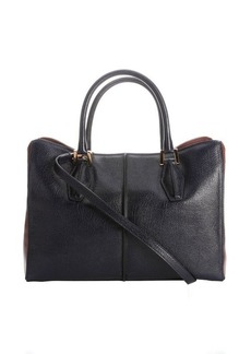 Tod's dark blue and brown leather convertible tote bag