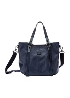 Tod's dark blue coated canvas convertible top handle tote