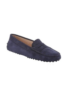 Tod's dark blue galaxy suede moc-toe penny loafers