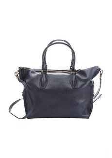 Tod's dark blue grained leather tote bag with suede side accents