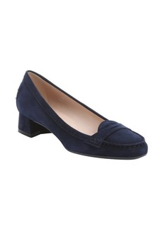 Tod's dark blue leather penny strap slip-on loafers