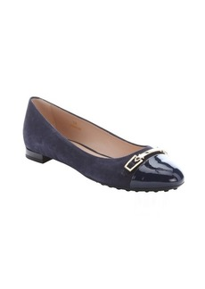 Tod's dark blue suede and patent leather cap toe ballerina flats