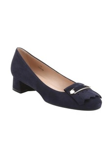 Tod's dark blue suede safety pin detail fringe loafers