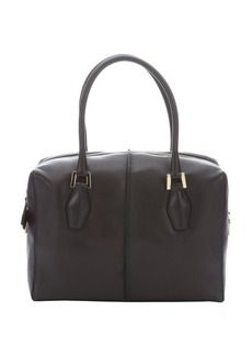 Tod's dark brown and dark purple leather top handle tote