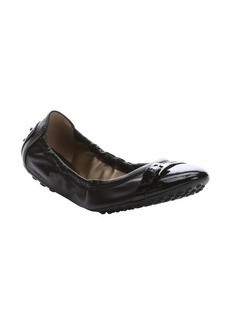 Tod's dark brown leather cap-toe ballerina flats