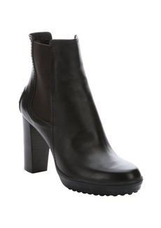 Tod's dark brown leather elasticized ankle boots