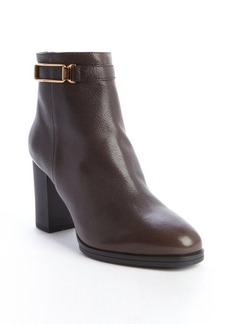 Tod's dark brown leather goldtone detail ankle boots