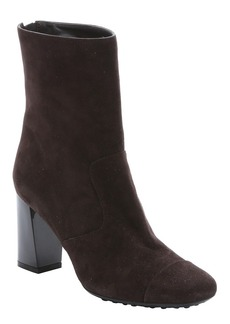 Tod's dark brown suede block heel booties