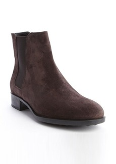 Tod's dark brown suede elastic gusset ankle boots