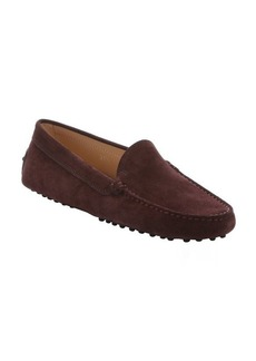 Tod's dark brown suede slip-on driving loafers