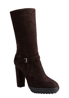 Tod's dark chocolate suede buckle mid-calf platform boots