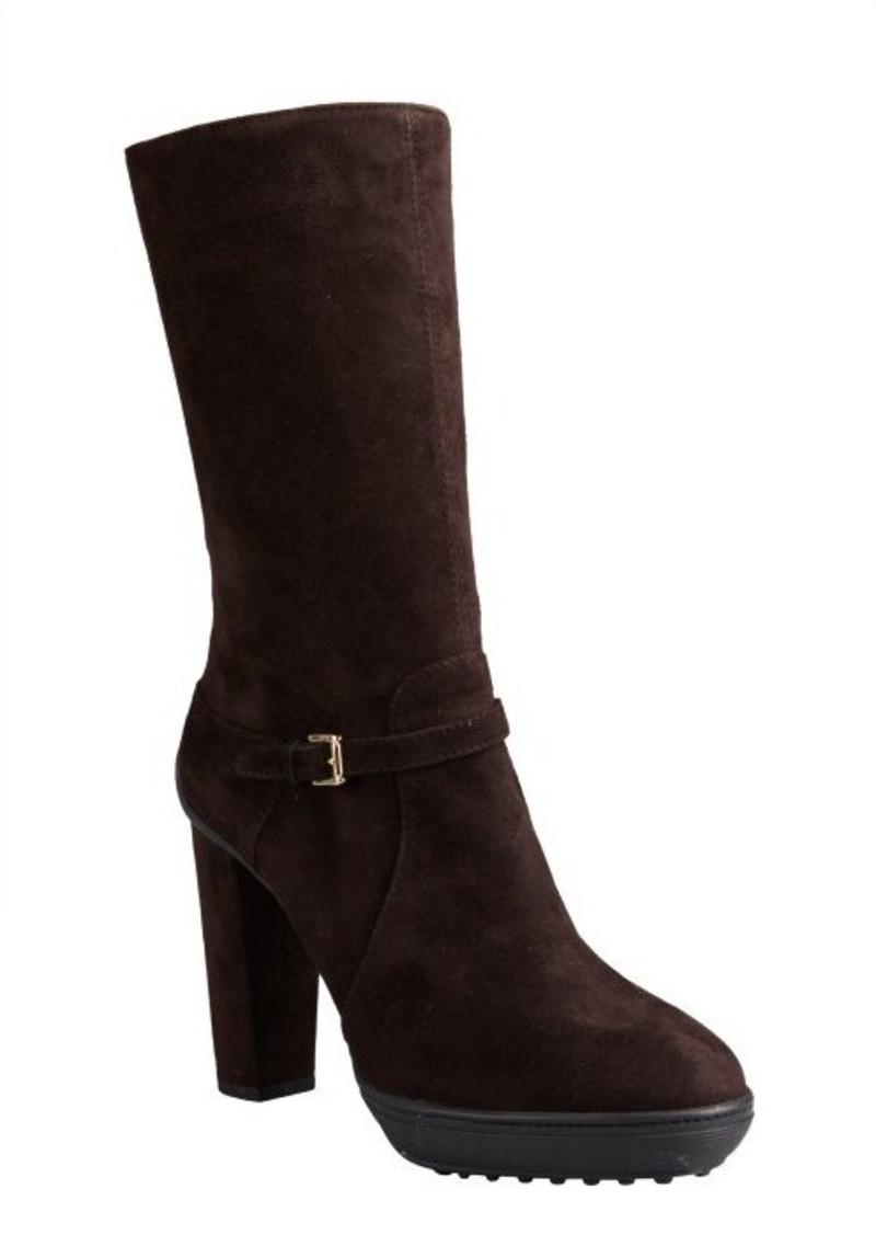 Tod's dark chocolate suede buckle mid-calf platform boots