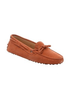 Tod's dark coral suede boat-stitched driving loafers