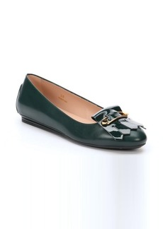 Tod's dark green leather fringe detail flats