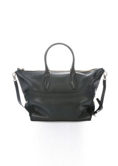 Tod's dark green leather large convertible tote bag