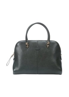 Tod's dark green leather large top handle tote