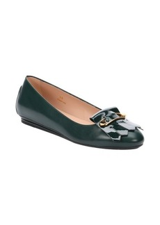 Tod's dark green leather safety pin and tassel detail ballerina flats