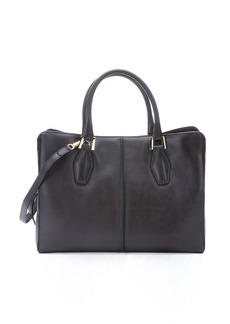 Tod's dark grey and bordeaux colorblock leather convertible tote