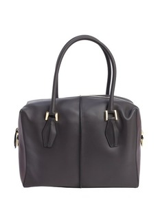 Tod's dark grey and burgundy leather small top handle tote