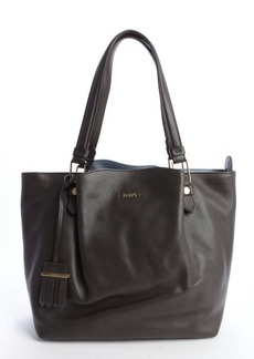 Tod's dark grey leather ruched top handle tote