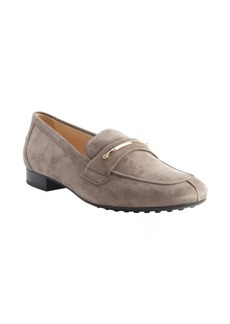 Tod's dark grey suede penny strap loafers
