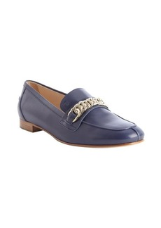 Tod's dark navy suede rolo chain loafers