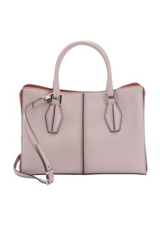 Tod's dark powder and coral leather structured shopper tote