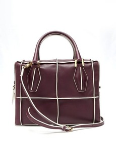 Tod's dark red leather seamed check convertible bag