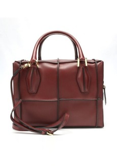 Tod's dark red leather seamed convertible bag