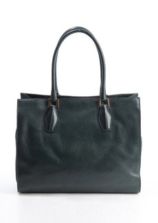 Tod's deep green leather top handle tote