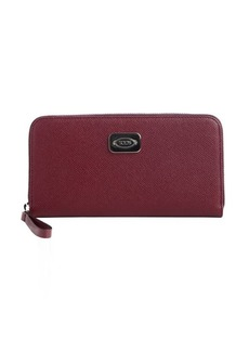 Tod's deep red leather logo plaque zip continental wallet