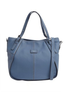 Tod's denim blue leather logo stamp convertible shoulder bag