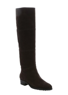Tod's ebony suede pull-on knee-high boots