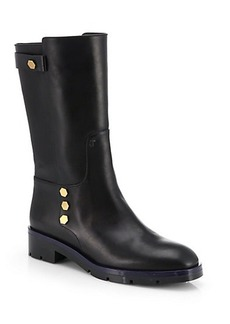 Tod's Flat Mate Leather Mid-Calf Boots