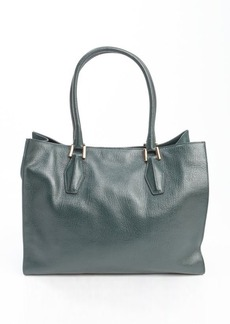 Tod's forest green suede accent leather top handle large tote