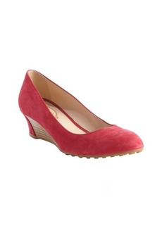 Tod's fuchsia suede wedge heel pumps