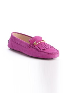 Tod's fuxia pink leather 'Heaven Frangia Spilla' loafers