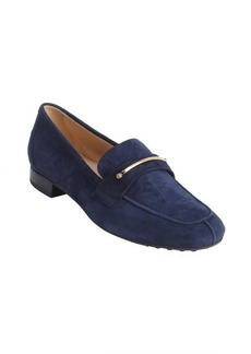 Tod's galaxy blue suede penny strap loafers