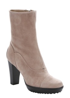 Tod's ginger suede side zip ankle boots