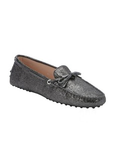 Tod's glittery gunmetal suede tie detail moc toe driving loafers