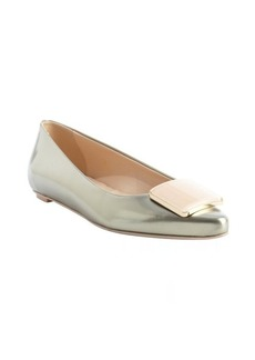 Tod's gold patent leather square emblem pointed toe flats
