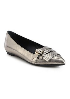 Tod's Gomma Saffiano Metallic Leather Fringe Flats