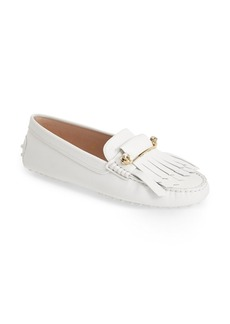 Tod's 'Gommini' Crystal Embellished Fringed Leather Driving Moccasin (Women)