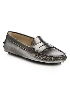 Tod's Gommini Metallic Leather Drivers