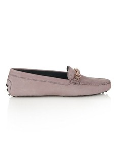 Tod's Gommino crystal-embellished suede loafers