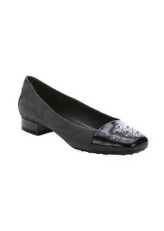 Tod's graphite suede and black leather captoe pumps