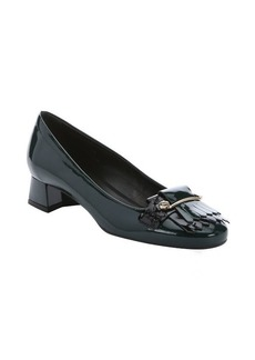 Tod's green and black patent leather loafer heels