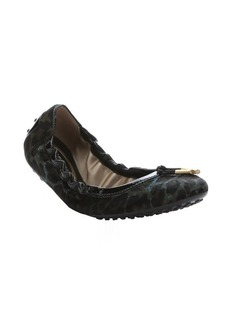 Tod's green leather trimmed calf hair packable ballerina flats
